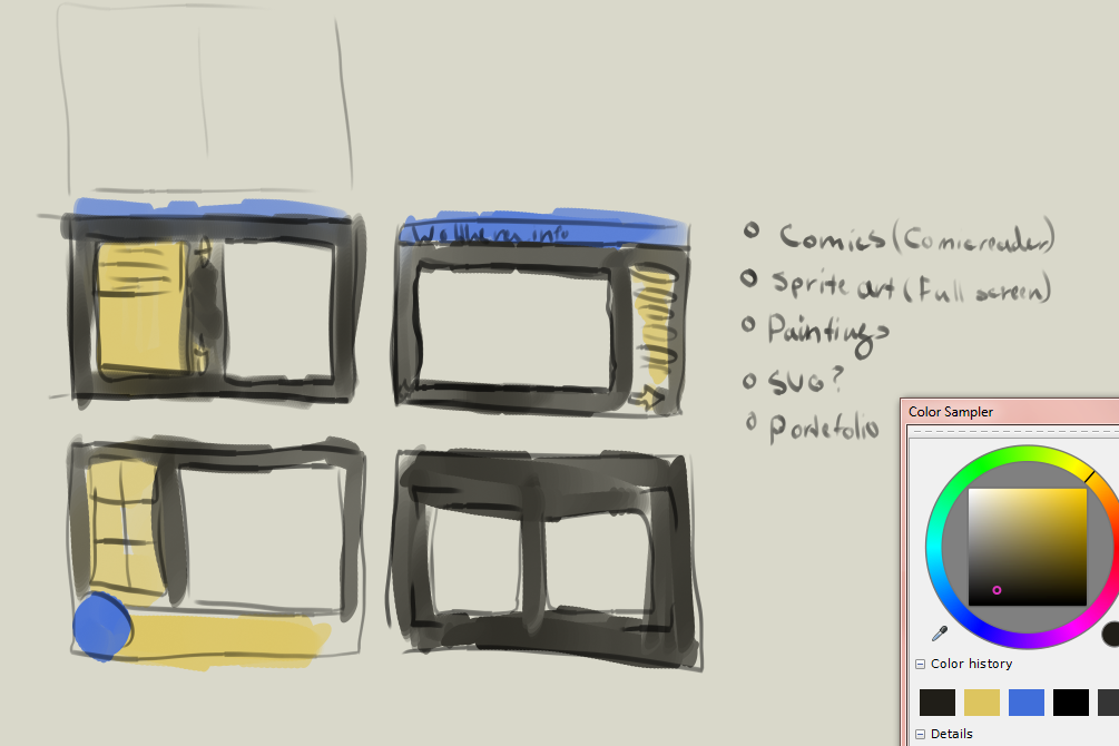 Making designs for my portefolio site.