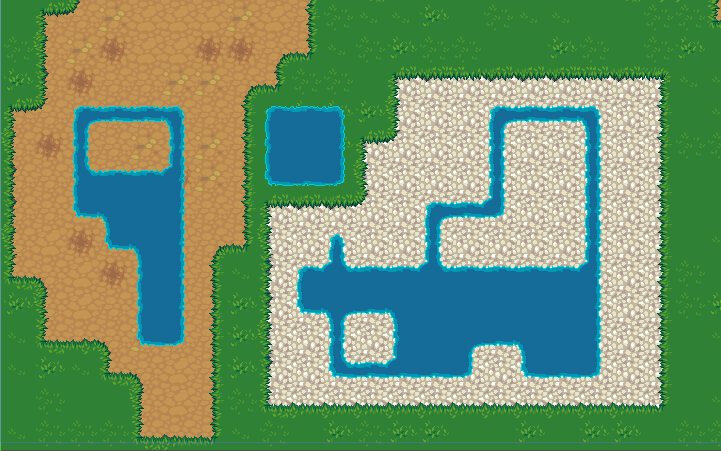 Water tiles overlaid over different types of terrain, like dirt, grass, and pebbles.