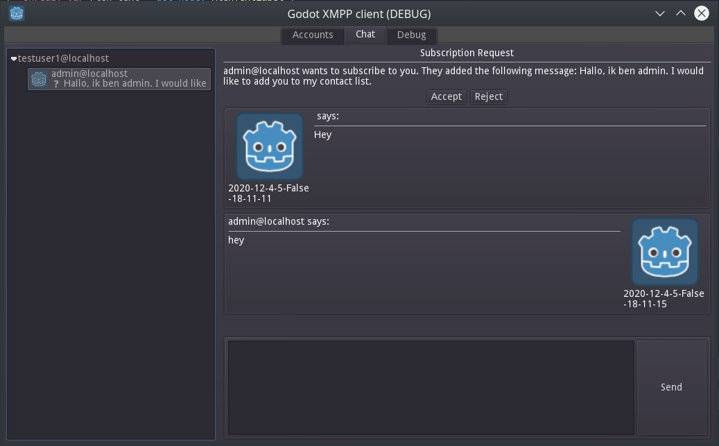 Screenshot of the godot xmpp client chat window.