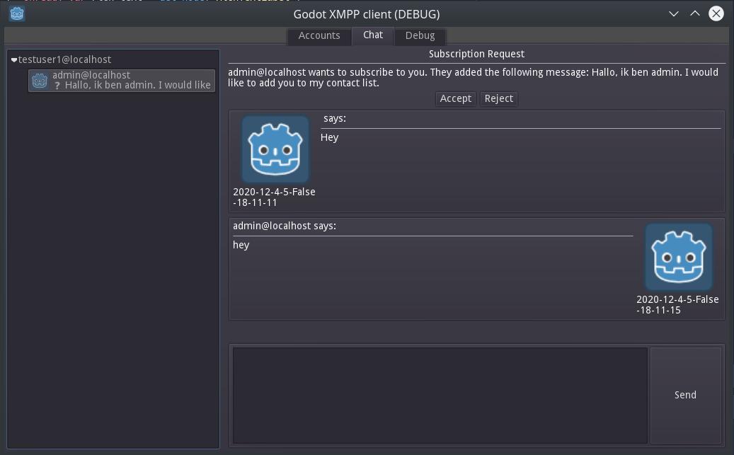 Screenshot of the godot xmpp client chat window.